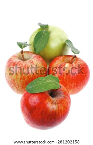 group of red and green fresh ripe apples isolated over white background - stock photo