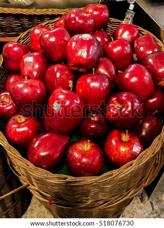 Group of red apples in basket