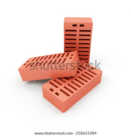 Group of Red Bricks isolated on white background - stock photo
