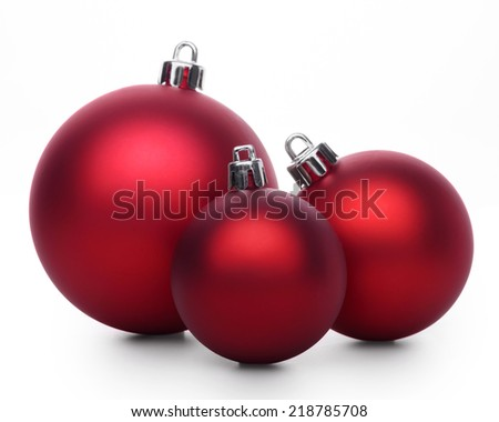 Group of red christmas balls isolated on white background - stock photo