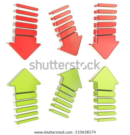 Group of red down and green up arrows with chrome metal edging in six foreshortenings isolated on white - stock photo