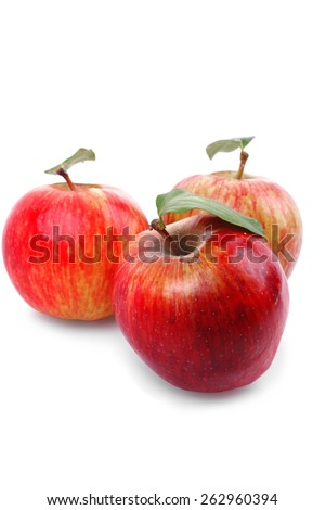 group of red fresh ripe apple isolated over white background - stock photo