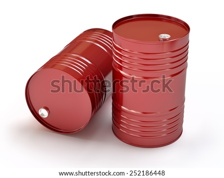 Group of red oil barrels, 3d illustration - stock photo