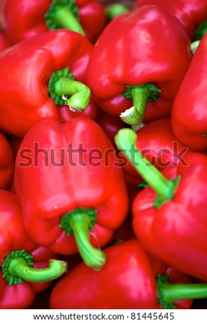 Group of Red Peppers - stock photo