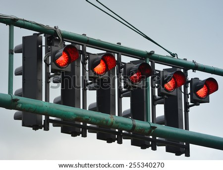 Group of red racing lights , close up - stock photo