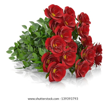 Group of red roses. Isolated render on a white background