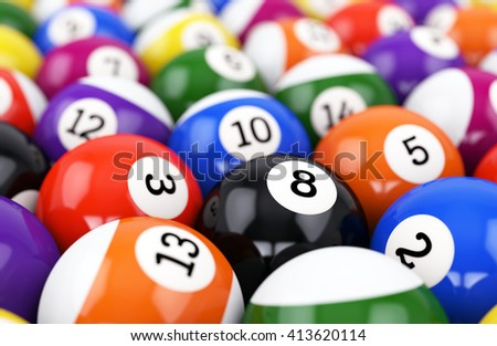 Group of retro colorful glossy pool game balls with numbers. Defocused background. 3D illustration