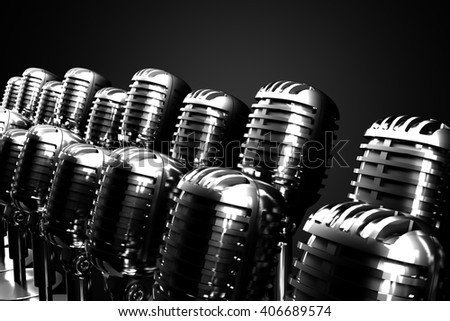 Group of retro microphones symbolizing gospel, symphonic or jazz choir. 3D illustration.