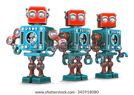Group of Retro Robots. Isolated over white. Contains clipping path