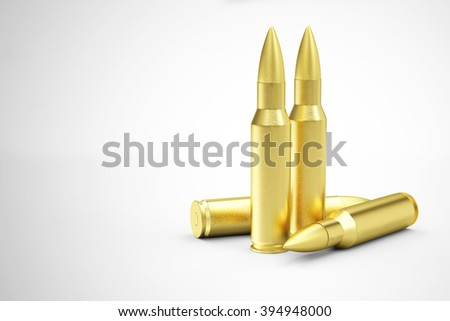 Group of Rifle Bullets on gradient background. Military Weapons Concept. - stock photo