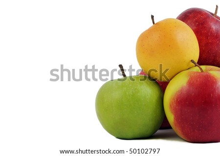 group of ripe juicy fresh apples fruits isolated over white