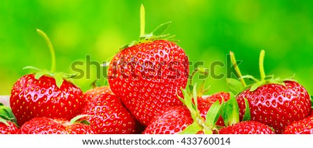 Group of ripe, organic strawberry on blurred green background, selective focus - stock photo