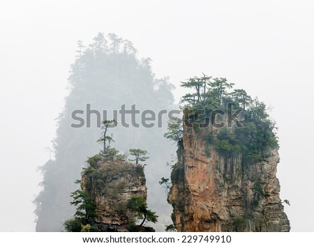 Group of rock columns mountain (Avatar rocks) in the mist. Zhangjiajie National Forest Park was officially recognized as a UNESCO World Heritage Site - China - stock photo