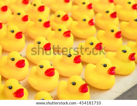 Group of rubber yellow duck toy, Selective focus and close up image - stock photo