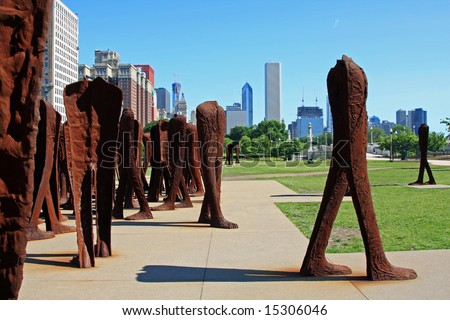 Group of Rusting Iron Headless Figures in Grant Park, in downtown Chicago - stock photo