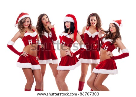 group of santa women  on a white background