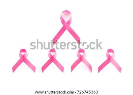 Group of satin pink ribbon symbols isolated on white background, , breast cancer awareness campaign