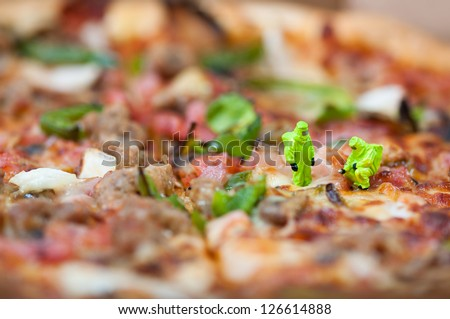 Group of scientists inspecting pizza. Unhealthy food concept - stock photo