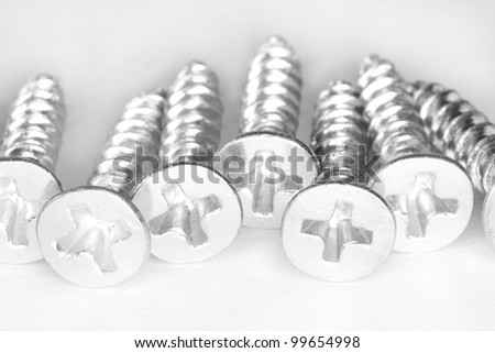 group of screws on a white background