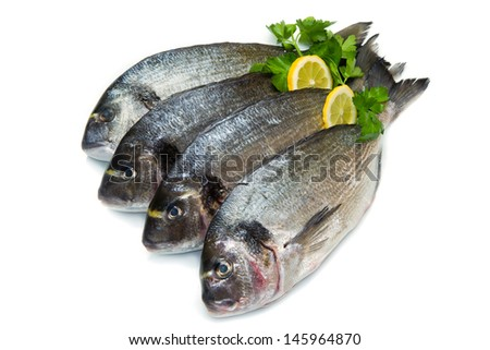 group of sea bream with lemon and parsley  isolated on white
