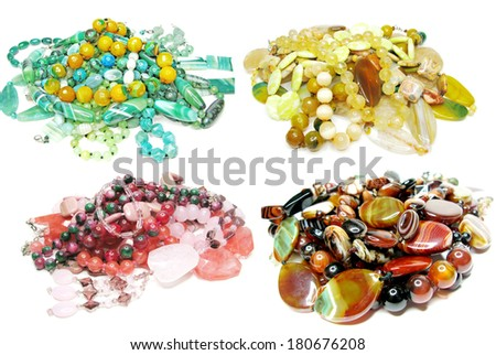 group of semigem crystal beads jewellery isolated on white background - stock photo