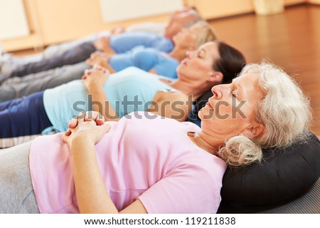 Group of senior people relaxing in a health club - stock photo