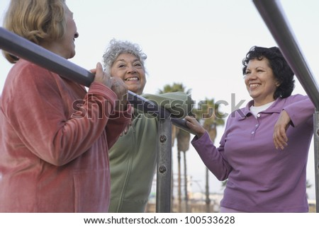 Group of senior woman in sweatsuits talking