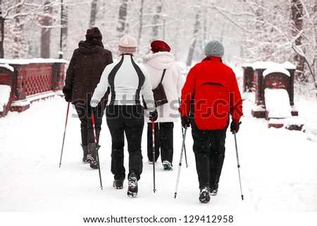 Group of senior women in the park - nordic walk in winter during blizzard - stock photo