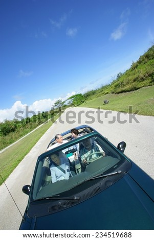 Group of Seniors Driving
