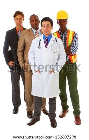 group of serious professionals isolated on white background - stock photo