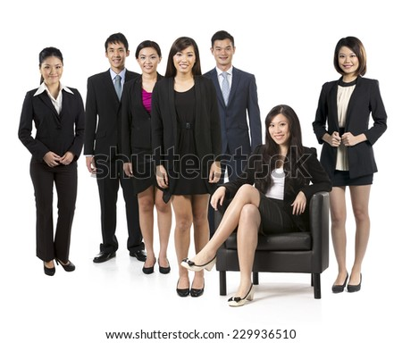Group of seven Asian business people. Business team Isolated on white background. - stock photo