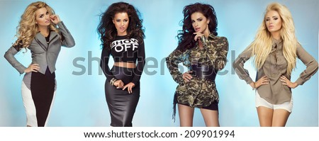 Group of sexy beautiful fashionable girls posing in studio over blue background - stock photo