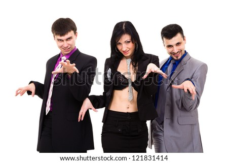 Group of sexy business people, isolated over white background. - stock photo