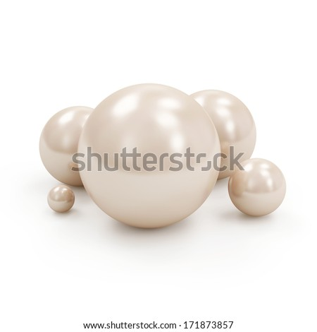 Group of Shiny White Pearls isolated on white background