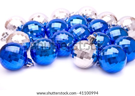 Group of shiny xmas tree balls on white