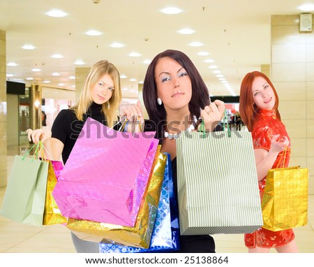 Group of shopping girls in a mall