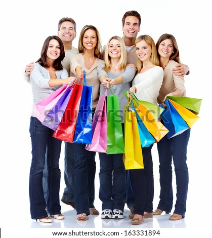 Group of shopping people isolated over white background. - stock photo
