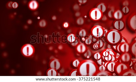 Group of signs with exclamation marks on a red backdrop, as a concept and warning sign of the wrong choice from the internet community in cyberspace. Abstract futuristic horizontal background. - stock photo