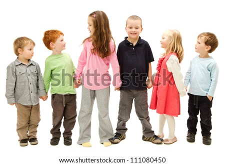 Group of six happy children standing and holding other kids hands. Isolated on white.