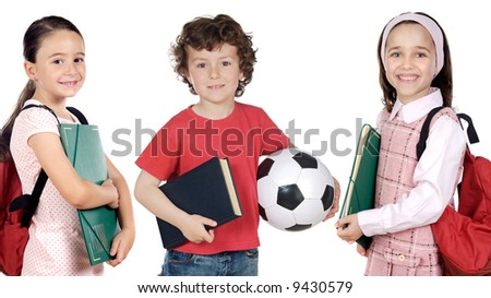 Group of  small students a over white background - stock photo