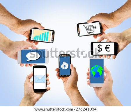 group of smart phones with multiple applications.All screen content is designed by us and not copyrighted by others and created with wacom tablet and ps - stock photo