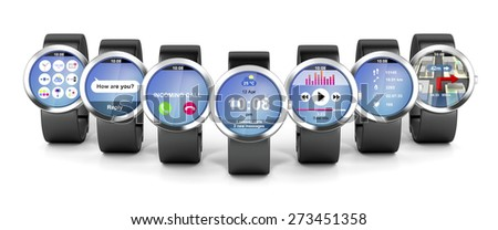 Group of smart watches with different apps - stock photo