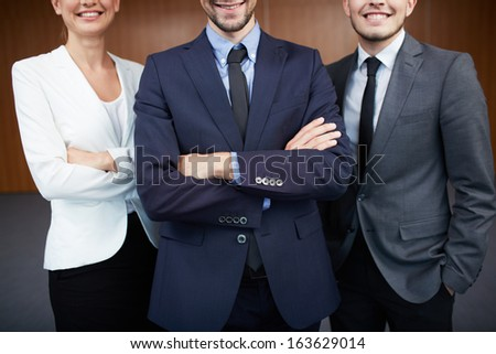 Group of smiling business partners in suits - stock photo