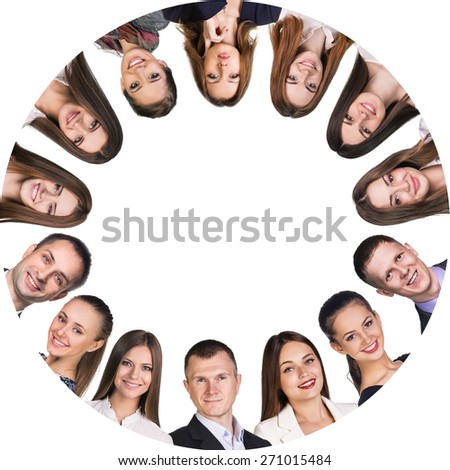 Group of smiling business people. Business team frame