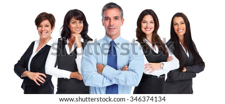 Group of smiling business people isolated on white background