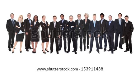 Group Of Smiling Business People Isolated Over White Background - stock photo