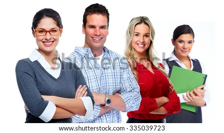 Group of smiling business people isolated white background