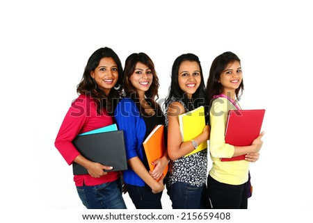 Group of smiling female friends/students, isolated on white background