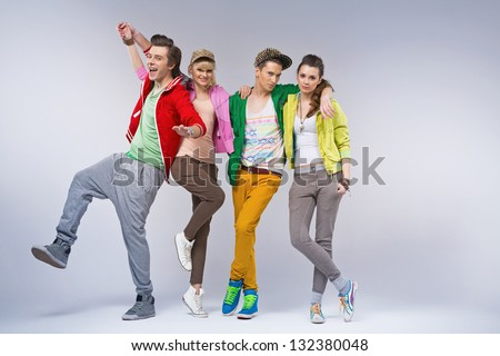 Group of smiling friends - stock photo