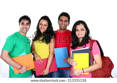 Group of smiling friends, isolated on white background - stock photo